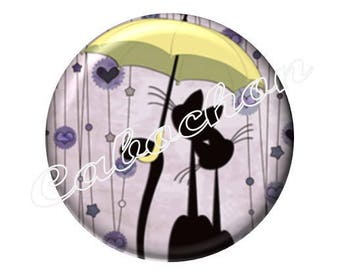 2 20mm glass cabochons, cat silhouette, umbrella