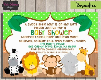 Jungle Baby Shower Invite, Jungle Baby Shower Invitation, Jungle Baby Shower, Safari Baby Shower, Safari Baby Shower Invite, DIGITAL FILE