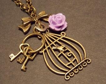 Bronze and Purple Birdcage Necklace