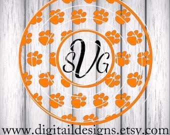 Tiger Paw Circle Monogram SVG - png - fcm - eps - dxf - ai - Cut File - Silhouette - Cricut - Paw Print Monogram Frame SVG - Paw Cut File