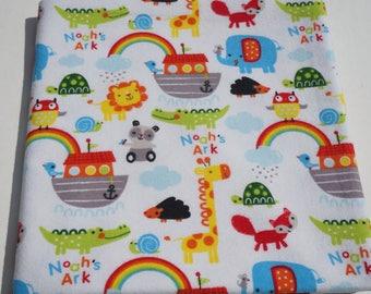 Baby Receiving Blanket, Noah's Ark Blanket, Animal Blanket, Baby Blanket, Flannel Blanket, Swaddle Blanket, Primary Colors, Rainbows and Ark