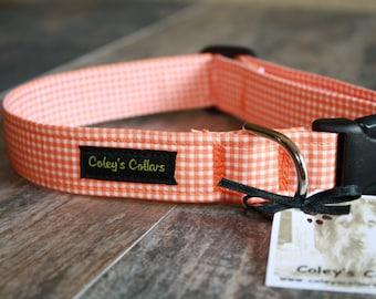 "Dog Collar, Gingham Dog Collar, Orange Dog Collar, Dog Collars, Girl Dog Collar, Boy Dog Collar, Plaid Dog Collar, ""The Gingham in Orange"""