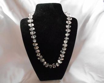 Crystal Necklace, quartz beaded necklace, handmade necklace, Crystal necklace, clear quartz gemstone necklace