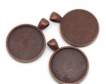 4 x brackets pendant 26mm ANTIQUE copper cabochon (25mm)