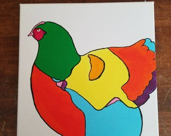 12x12 rainbow rooster painting acrylic on canvas