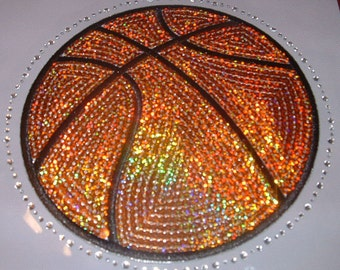 CLOSEOUT SALE Basketball (ball) Sequins and Rhinestone Transfer Applique ONLY