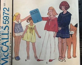 """Vintage 70s McCall's 5972 """"Annie"""" Dress, Shorts, Pants and Top Pattern-Size 6 (25-22-26)"""