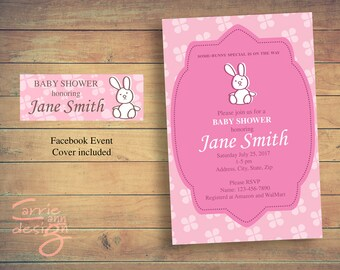 Somebunny Special Baby Shower Invitation Printable Downloadable - Girl Pink Bunny - Facebook Cover