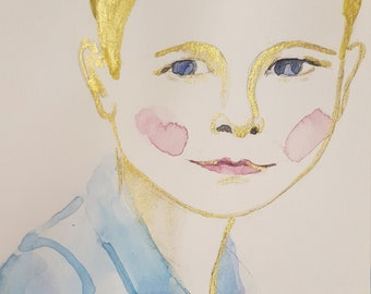 Custom Portrait Drawing Watercolor GOLD Ink Child