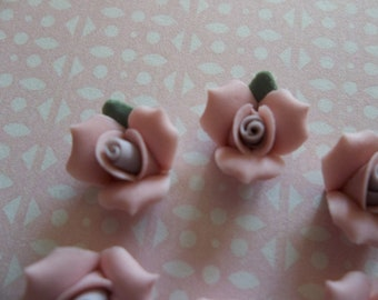 11mm Pink Ceramic Roses - Flower Cameos - Green Leaf - Purple Center - Flat Back Cabochons - Qty 6