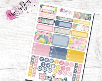 Floral Functional Planner Stickers for Horizontal, Vertical ECLP, BuJo, TN, Kikki.K Filofax, Happy Planner etc