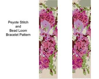 Pink Roses Bead Loom and 2 Drop Peyote Stitch Bracelet Pattern