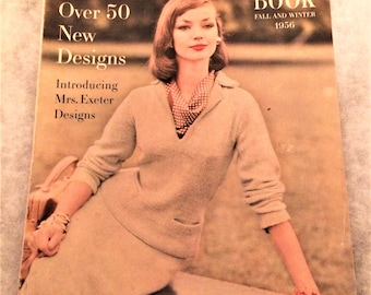 Vintage 1956 Vogue Knitting Book Fall and Winter 50s Fashions