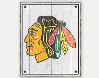 Chicago Blackhawks sign - Print applied to wood - Blackhawks fan gift - Man cave Boys room Sports Bar decor Fathers Day gift for Dad