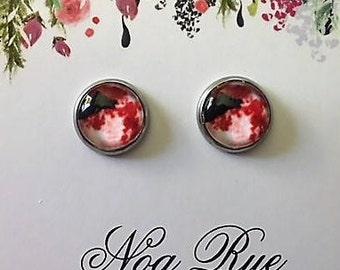 Red Moon Rising 10mm Stud Earrings