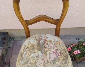 Louis-Philippe Chair redone with seat canvas original romantic scene
