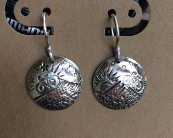 Uphill and Downhill MTB Cycling Earrings - Domed - Sterling Silver