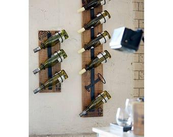 Vintage Industrial Wall Wine Rack