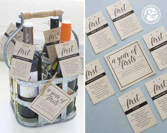 INSTANT DOWNLOAD A Year of Firsts Milestone Wine Basket - Classic Black Cursive Tags for 12 Bottle Basket - Wedding Gift, Bridal Shower Gift