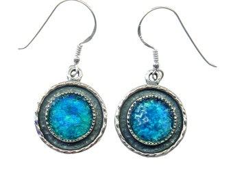 Unique Roman Glass Earrings, Blue Roman Glass Earrings, Round Roman Glass Earrings, Dangle Silver Earrings, Unique Women Gift
