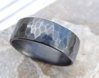 industrial mens ring silver, forged silver band ring, mens ring personalized gift, industrial wedding band mens, mens engagement ring silver