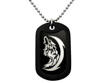 Wolf Necklace, Stainless Steel Dog Tag Necklace with Engraved Wolf Design,  Black Dog Tag Necklace, Father's Day Gift 24 inches AN151