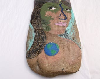 Mother Earth 2 has the World on a chain and Mountains and Clouds in her hair, a river forms her nose - Driftwood Wall Art - Nature Decor
