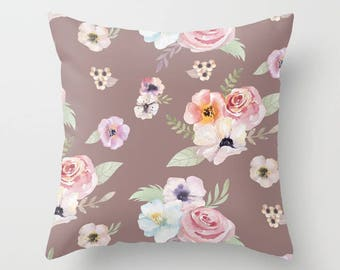 Throw Pillow - Watercolor Floral I - Cocoa Brown Pink - Square Cover with Insert - 16x16 18x18 20x20 24x24