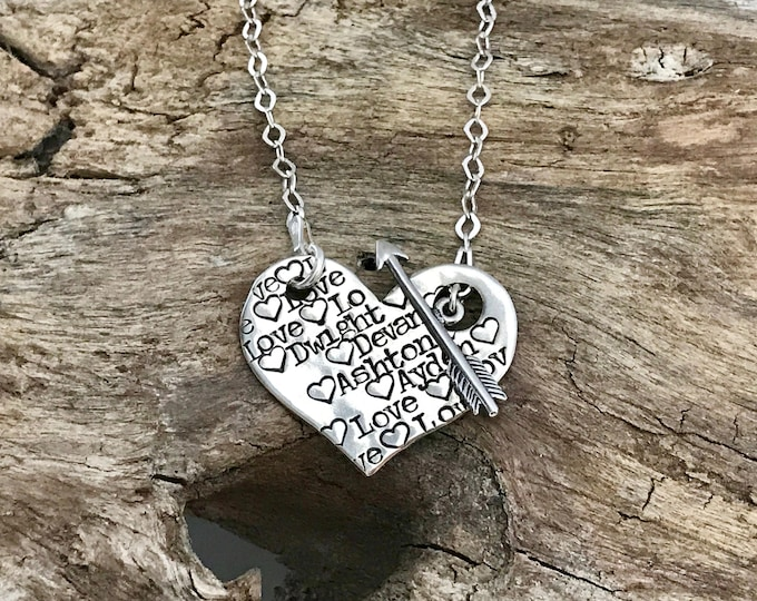 Personalized Heart Necklace | Unique Necklace For Women | Sterling Silver Heart | Name Necklace with Kids Names | Custom Heart Necklace