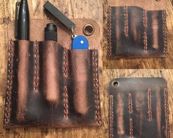 The DEANedc Triple Threat EDC Organiser in Distressed Crazy Horse (Brown)