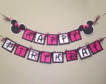 Minnie Mouse Birthday Banner, Minnie Birthday Party, Minnie Mouse Party, Minnie Party, Minnie Mouse Birthday Banner, Minnie Party Banner