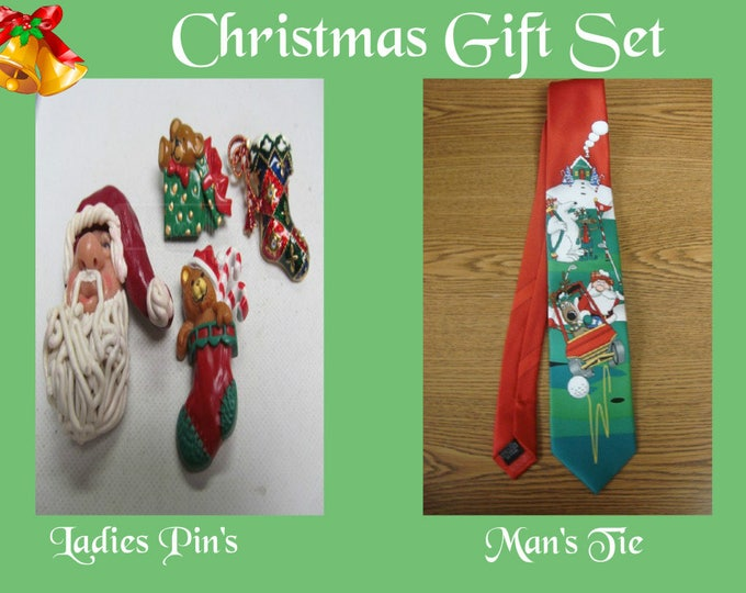 Christmas Gift Set with Ladies Christmas Pin's and Man's Christmas Golf Tie with Reduced Shipping, CLEARENCE