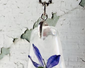 Blue Flower necklace, Terrarium pendant, REAL flower necklace, Dried flower pendant