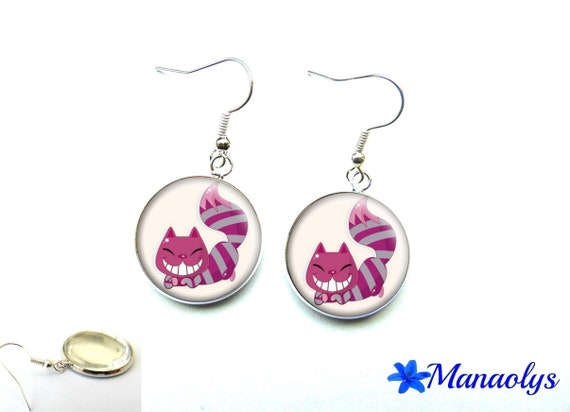 "Earrings pink cats, ""Alice in Wonderland country"", 1922 glass cabochons"