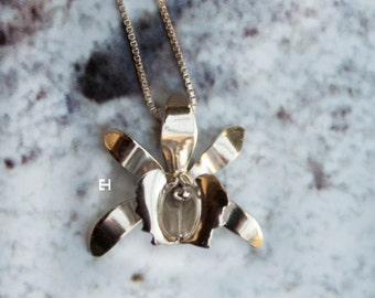 Handmade Sterling Silver Orchid Necklace