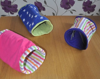 Fleece tunnels for guinea pigs, rabbits, ferrets and other pets. Easily washable