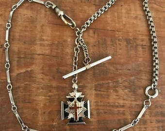 Vintage Knights Templar/Masonic Watch Fob assemblage - antique silver OOAK!