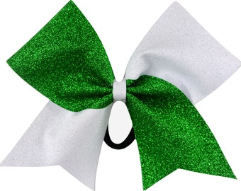 Sideline Tick Tock Kelly Green and White Glitter Cheer Bow