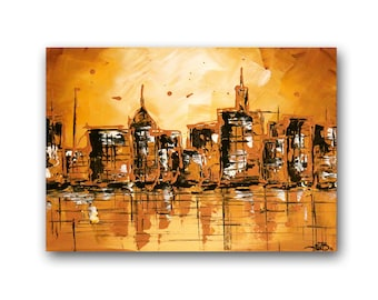"Abstract Cityscape, Abstract Landscape, Textured Art Canvas, Impasto Palette Knife, ""Dawn & Dusk"" 12x16"" by SFBFineArt"