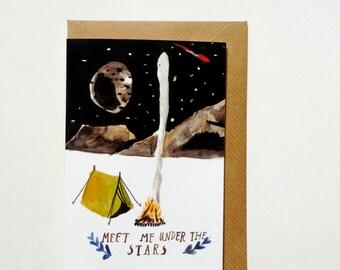 Meet Me Under The Stars Greetings Card