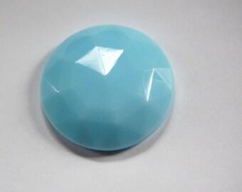 Vintage Light Blue Faceted Glass Cabochon 27mm cab140F