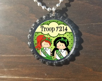 Juniors Junior Girl Scouts Personalized ANY NAME bottle cap necklace - * Free Chain*