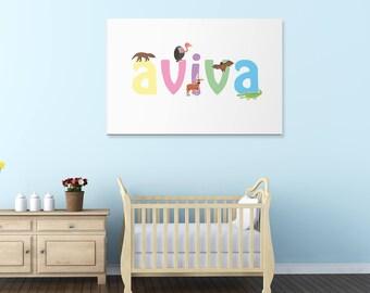 Aviva wall canvas, Aviva wall art, Aviva animal art print, Nursery canvas, Kids bedroom canvas, UK,USA.