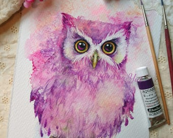 Baby owl - ORIGINAL watercolor painting 7.5x11 inches