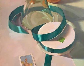 "Fine Art painting tarot card still life ""The Juggler"" 12x16"" original oil on canvas by Sarah Sedwick"