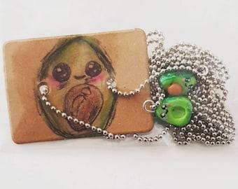 Avocado best friend necklace set