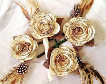 Paper Flower Boutonniere / Groom / Boho Chic Wedding / Paper Rose / Feather / Wedding Party / Rustic Wedding / Boutonnier / Handmade