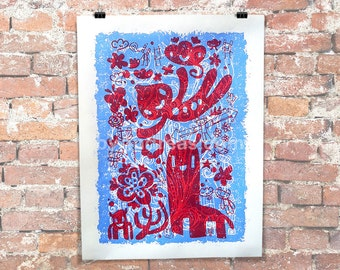 """18x24"""" Red and Blue Springtime Crazies (2 color Screen Print)"""