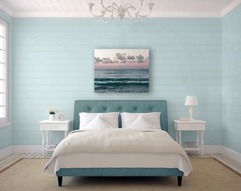 Ocean Photography on Canvas, Pastel Beach Decor, Pink, Blue, White, Large Wall Art Canvas, Beach House Decor