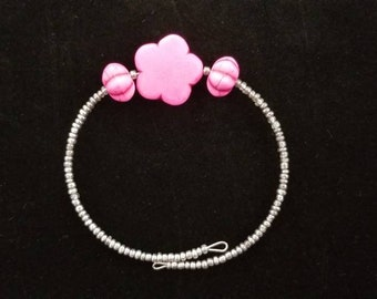 Gold and Hot Pink Memory Wire Bracelet